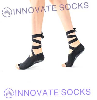 Open Toe Non Slip Pilates Barre Fitness Yoga Socks-2