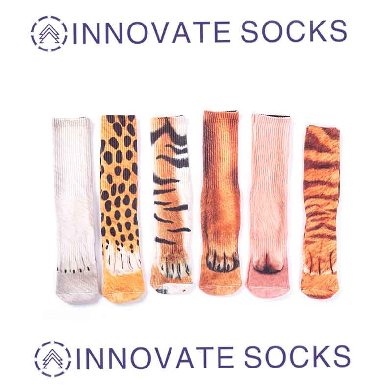 Customization Sublimation Printing 3D Animal Printed Sox Cute Custom Digital Printed Tube Socks