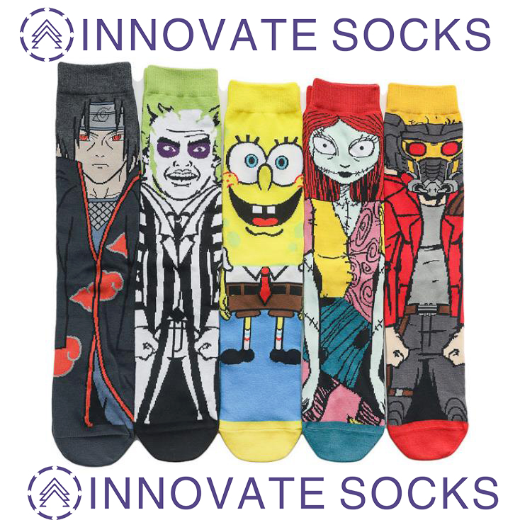 Cartoon Personality Socks Anime Trend Character Mid-crew socks