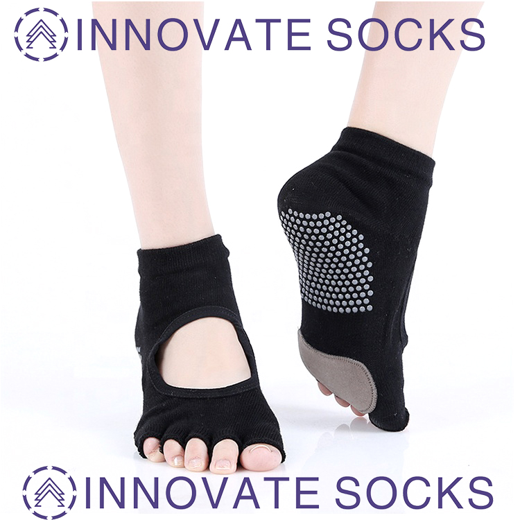Non Slip Toeless Cotton Yoga Pilates Socks