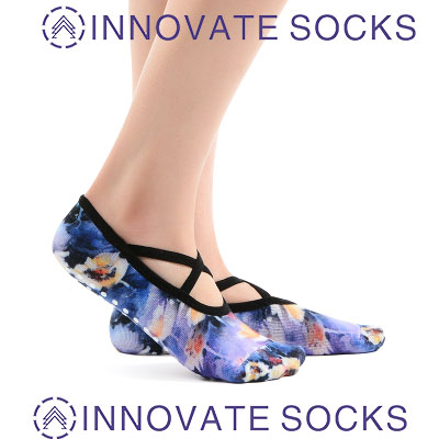 Non-Slip Printed Yoga Socks With Cross Belt Ballet Dance Socks