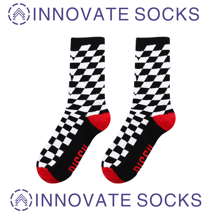 Shark Fashion Socks Street Checkered Hip Hop Skateboard Ins Crew Socks