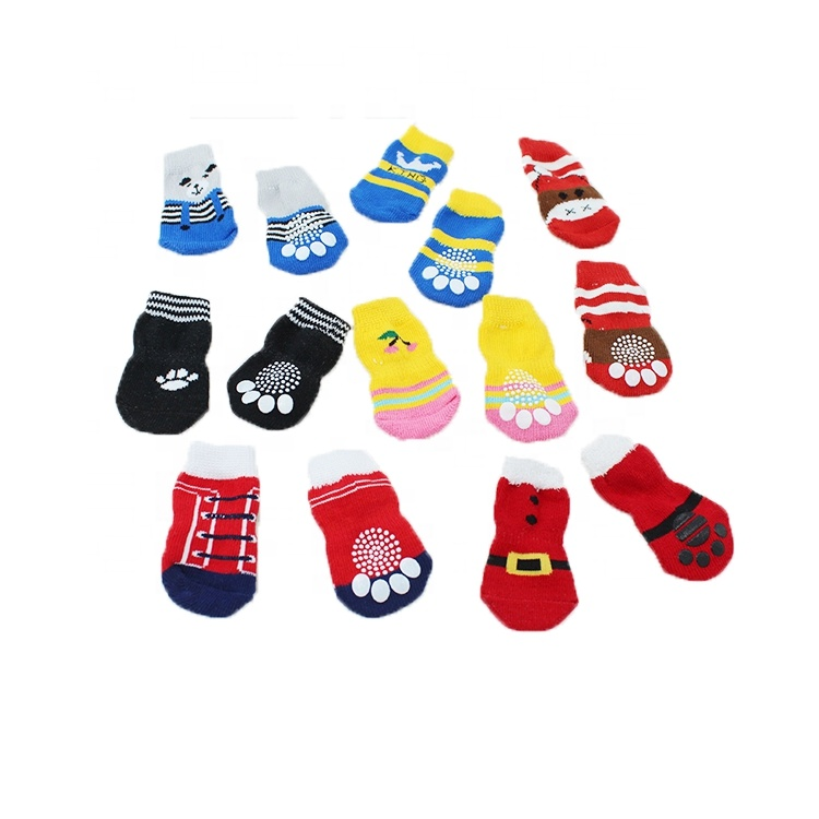 Breathable Non-Slip Knitted Paw Print Pet Dogs Socks for Daily Life